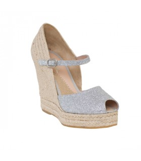 Silver glitter shell  wedge