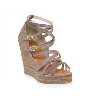 Grey strappy high wedge