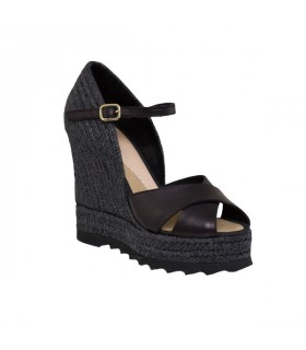 Black leather high wedge