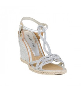 Silver weave mid height wedge