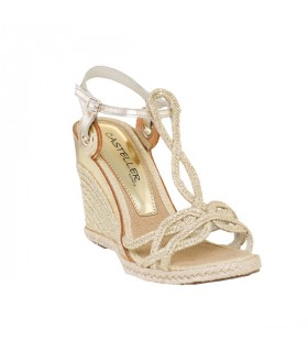 Gold weave mid height wedge